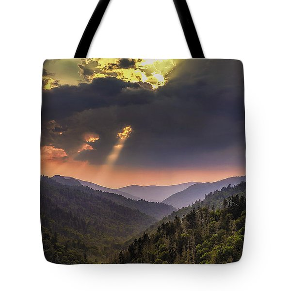 Breaking Thru At Sunset Tote Bag