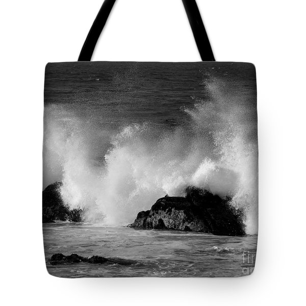Tote Bag featuring the photograph Breaking Wave At Pacific Grove by James B Toy