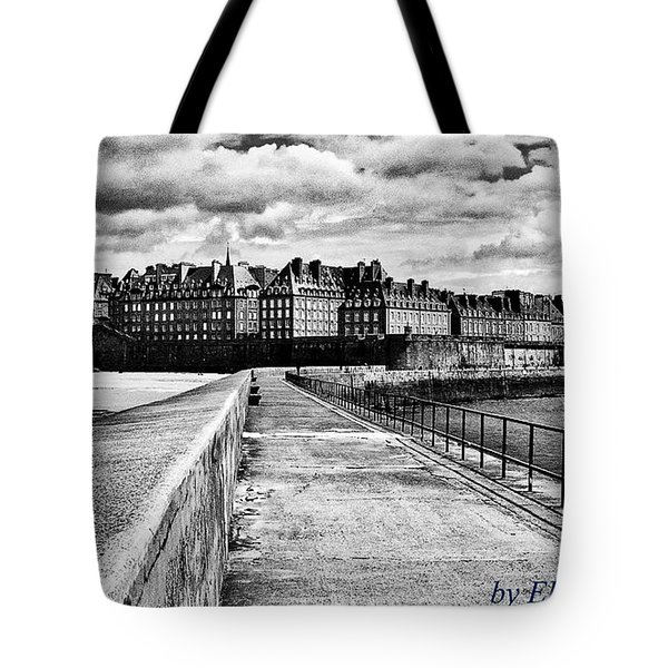 Tote Bag featuring the photograph Breakwater Walkway To Intra Muros by Elf Evans