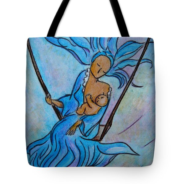 Breastfeeding Everywhere Breastfeeding On A Swing Tote Bag by Gioia Albano