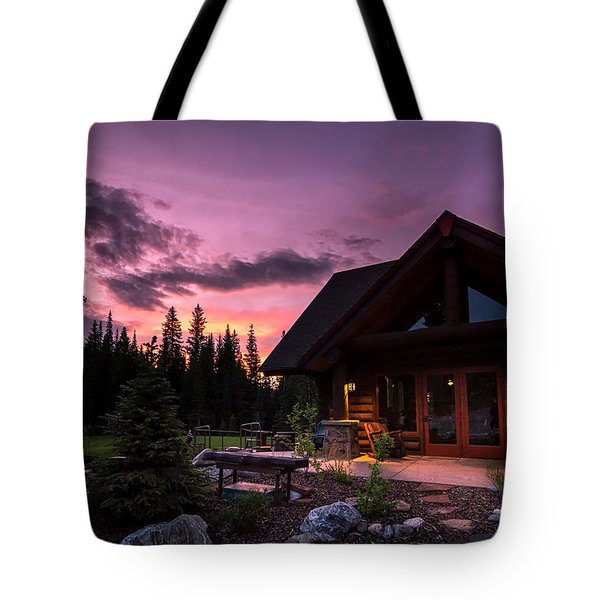 Breck Nordic Lodge Sunset Tote Bag