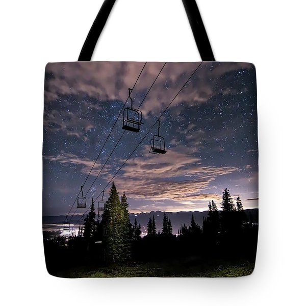 Breckenridge Chairlift Under Stars Tote Bag