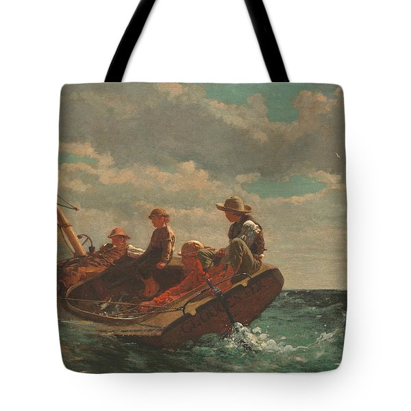 Tote Bag featuring the painting Breezing Up A Fair Wind - 1876 by Winslow Homer