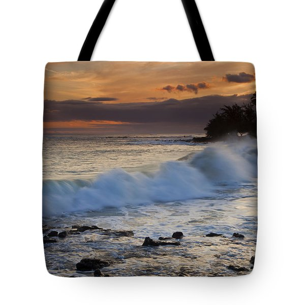 Brennecke Waves Sunset Tote Bag by Mike  Dawson