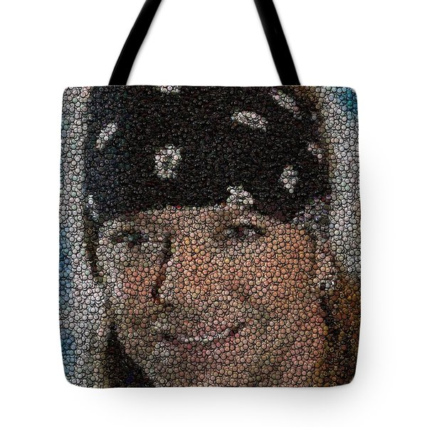 Tote Bag featuring the mixed media Bret Michaels Poison Bottle Cap Mosaic by Paul Van Scott