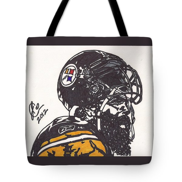 Tote Bag featuring the drawing Brett Keisel by Jeremiah Colley