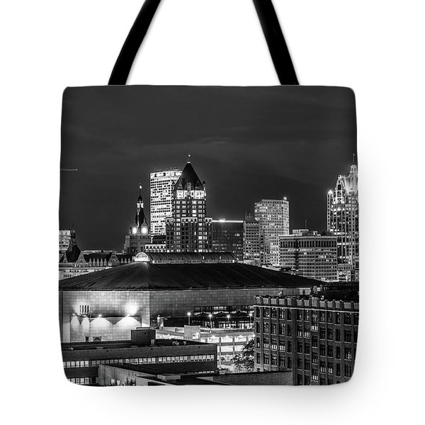Tote Bag featuring the photograph Brew City At Night by Randy Scherkenbach