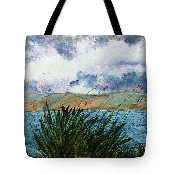 Brewing Storm Over Lake Watercolor Painting Tote Bag