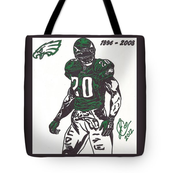 Tote Bag featuring the drawing Brian Dawkins 3 by Jeremiah Colley