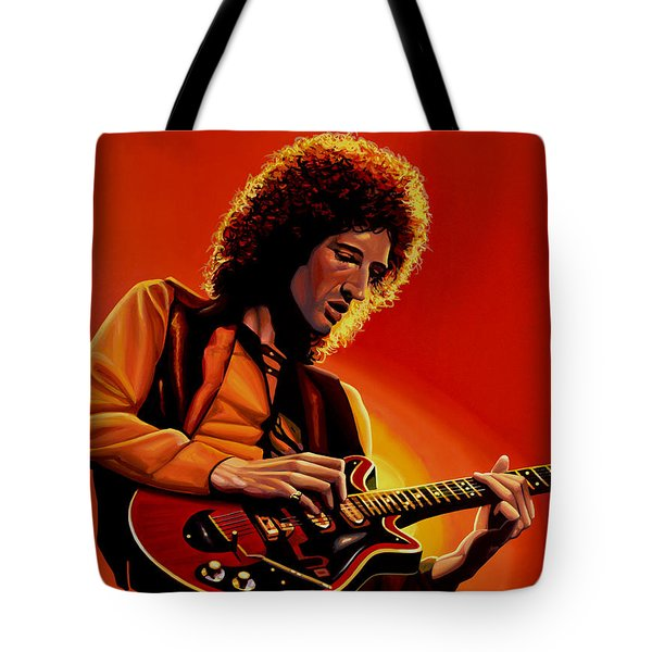 Brian May Of Queen Painting Tote Bag by Paul Meijering