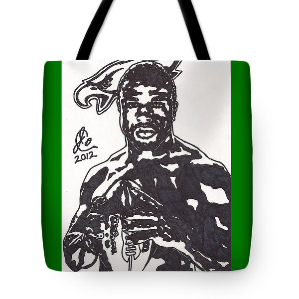 Tote Bag featuring the drawing Brian Westbrook by Jeremiah Colley