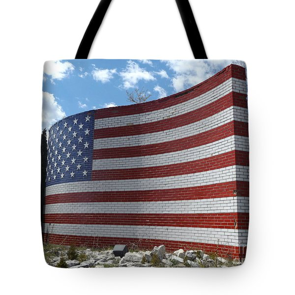 Brick American Flag Tote Bag by Erick Schmidt