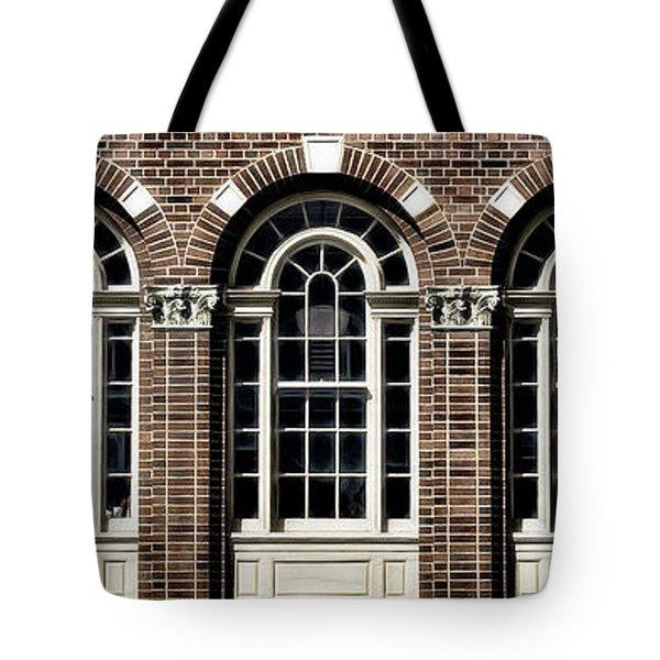 Tote Bag featuring the photograph Brick Arch Windows by Brad Allen Fine Art