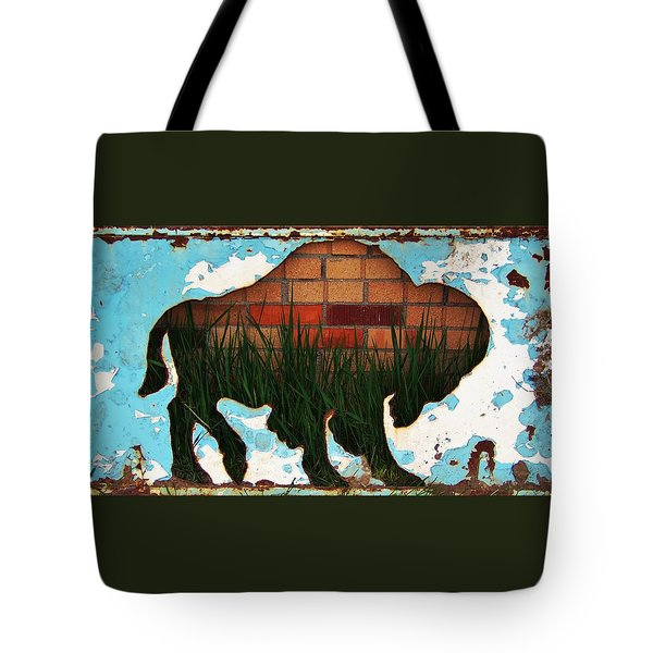 Tote Bag featuring the photograph Red Brick Buffalo by Larry Campbell