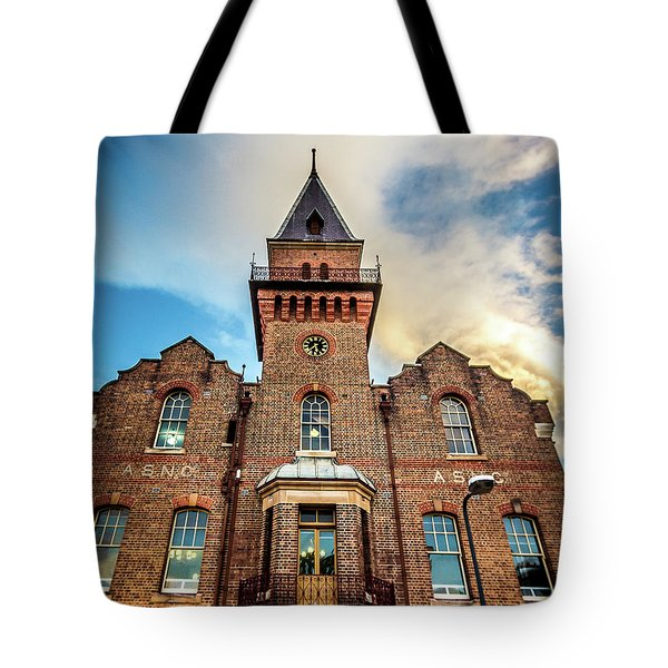 Tote Bag featuring the photograph Brick Tower by Perry Webster