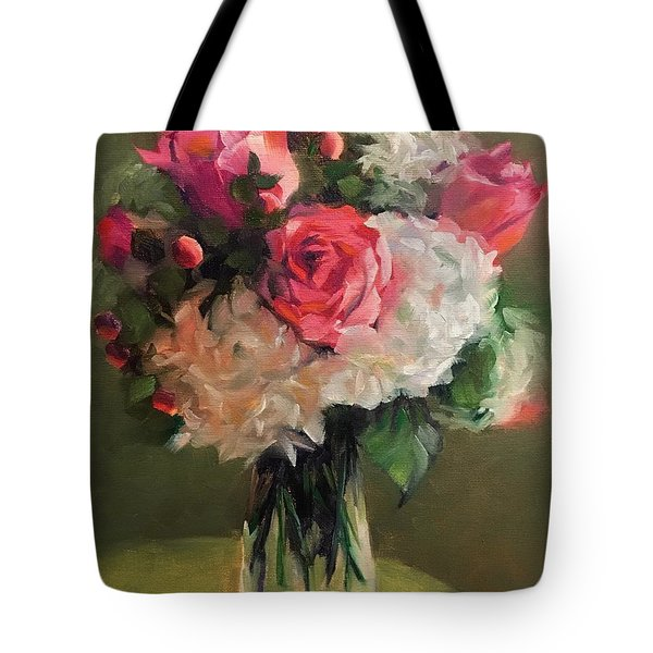 Tote Bag featuring the painting Bridal Bouquet by Pam Talley