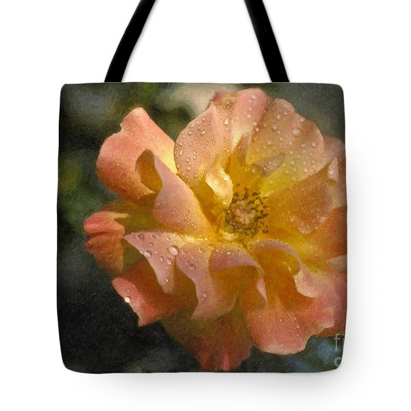 Tote Bag featuring the photograph Bridal Pink Yellow Hybrid Tea Rose Genus Rosa by David Zanzinger