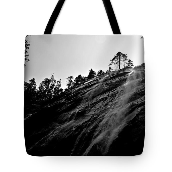 Tote Bag featuring the photograph Bridal Veil Falls In Black And White by SimplyCMB