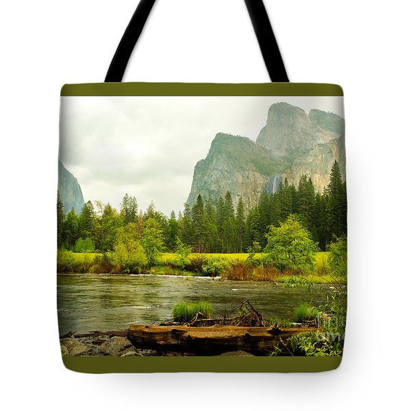 Tote Bag featuring the photograph Bridal Veil Falls In Yosemite National Park by MaryJane Armstrong