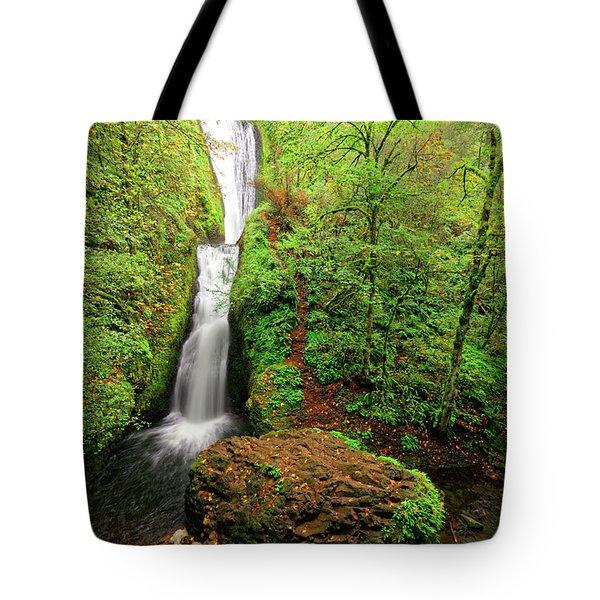 Tote Bag featuring the photograph Bridal Veil Falls by Jonathan Davison
