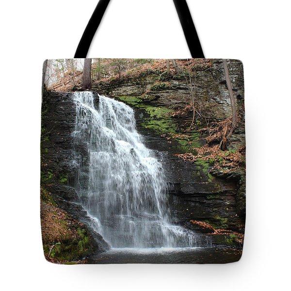 Tote Bag featuring the photograph Bridal Veil Falls by Linda Sannuti