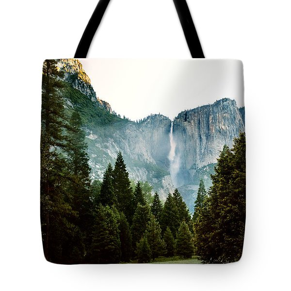 Tote Bag featuring the photograph Bridalveil Falls In Yosemite by MaryJane Armstrong