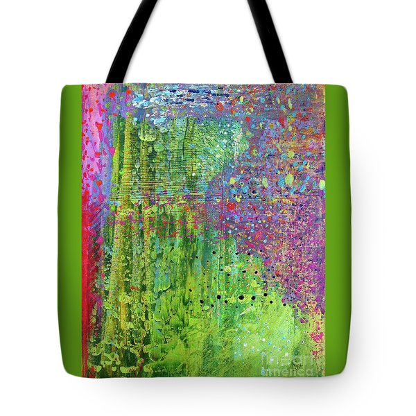 Tote Bag featuring the painting Abstract Green And Pink by Corinne Carroll