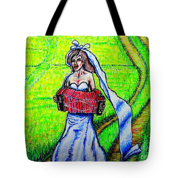 Tote Bag featuring the painting Bride/sketch/ by Viktor Lazarev