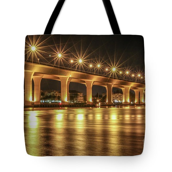 Tote Bag featuring the photograph Bridge And Golden Water by Tom Claud