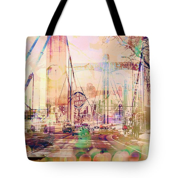 Tote Bag featuring the photograph Bridge And Grain Belt Beer Sign by Susan Stone