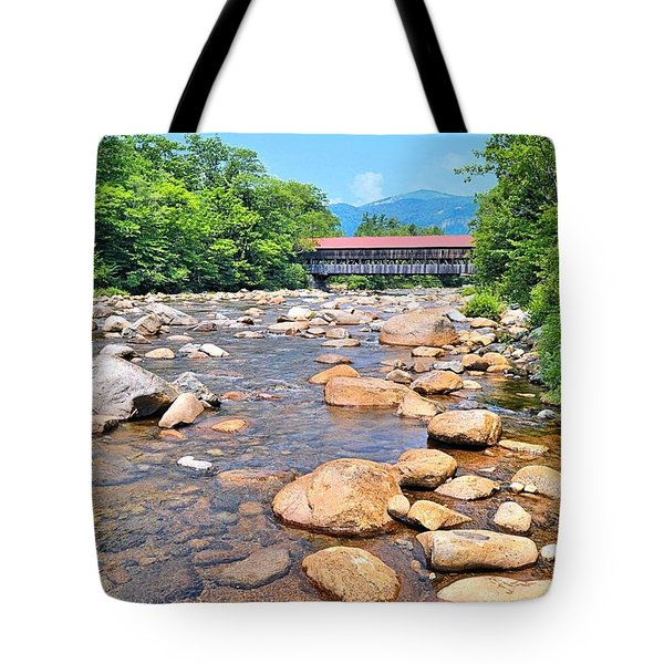 Bridge And Mountain Stream Tote Bag