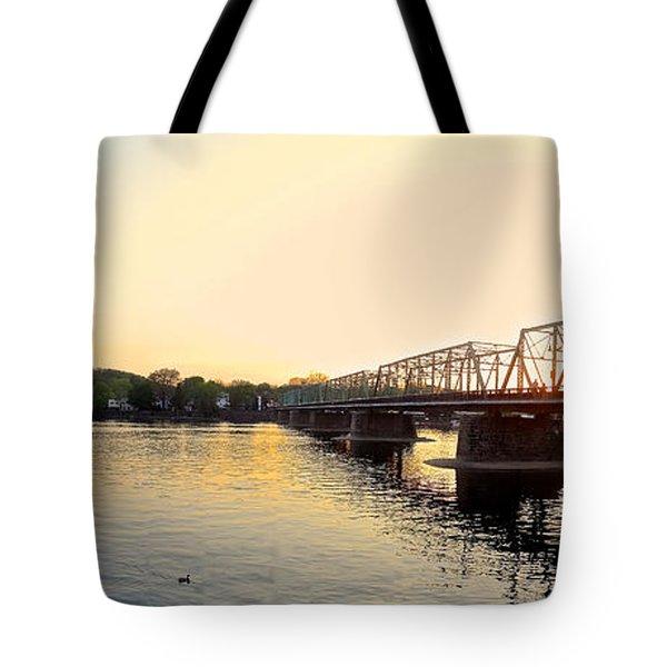 Bridge And New Hope At Sunset Tote Bag
