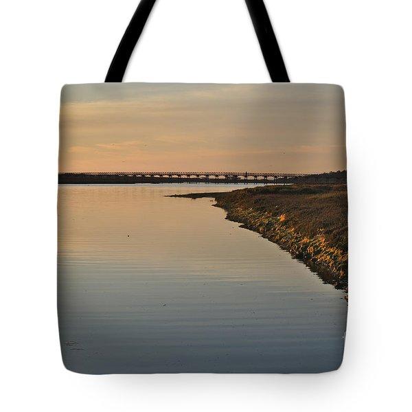 Bridge And Ria At Sunset In Quinta Do Lago Tote Bag