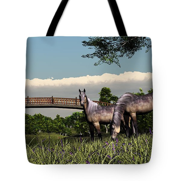 Bridge And Two Horses Tote Bag by Walter Colvin