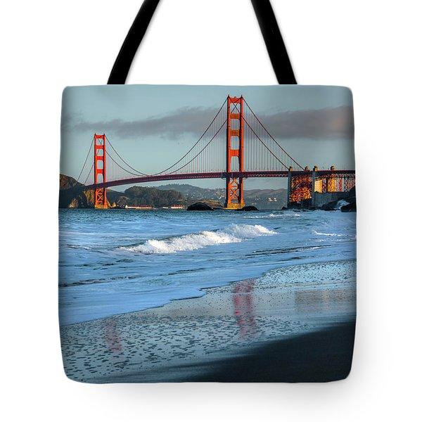 Bridge And Waves Tote Bag
