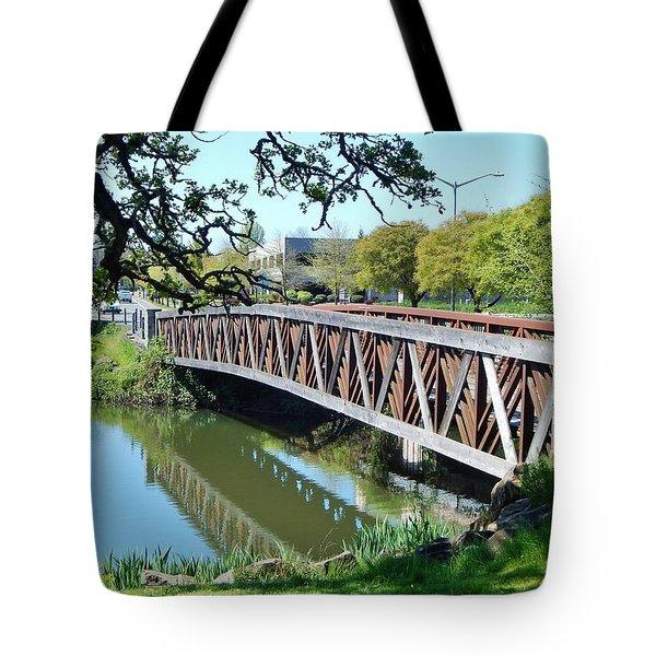Bridge At Cox Creek Tote Bag by VLee Watson