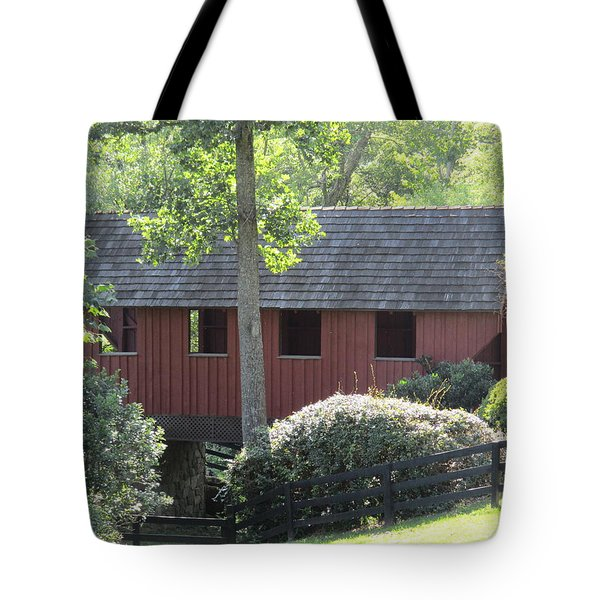 Bridge At Pont Rouge Farm Tote Bag