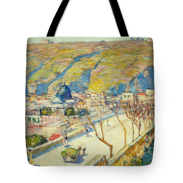 Bridge At Posilippo At Naples Tote Bag by Childe Hassam