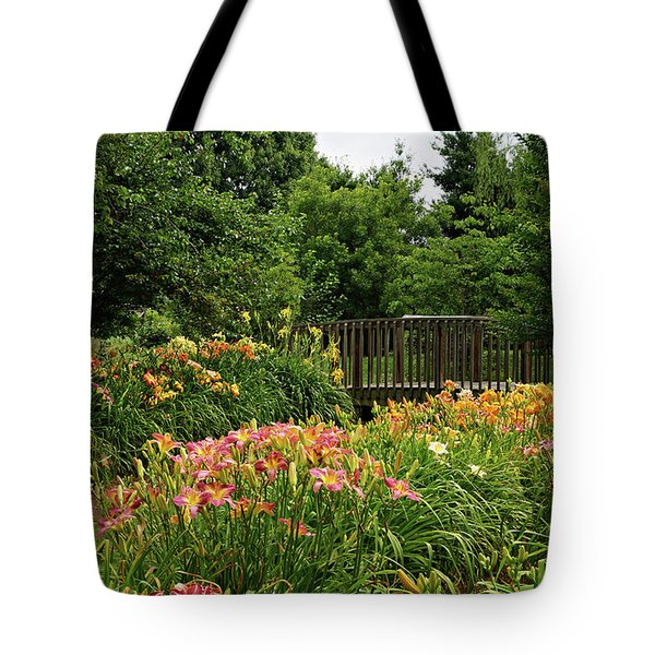 Tote Bag featuring the photograph Bridge In Daylily Garden by Sandy Keeton