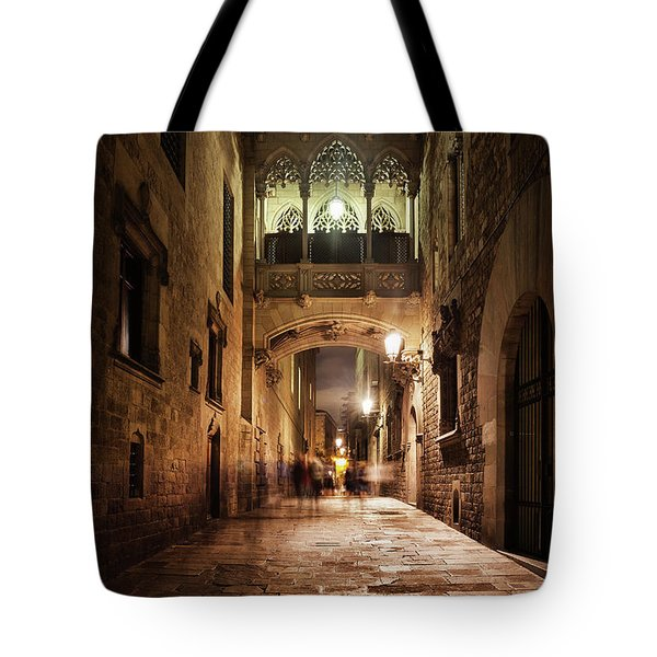 Bridge In Gothic Quarter Of Barcelona At Night Tote Bag