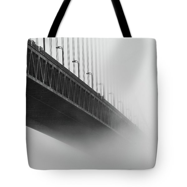Tote Bag featuring the photograph Bridge In The Fog by Stephen Holst