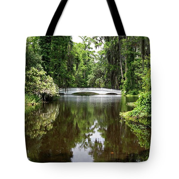Tote Bag featuring the photograph Bridge In The Garden by Sandy Keeton