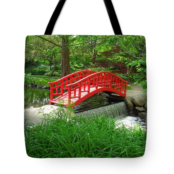 Tote Bag featuring the photograph Bridge In The Woods by Rodney Campbell