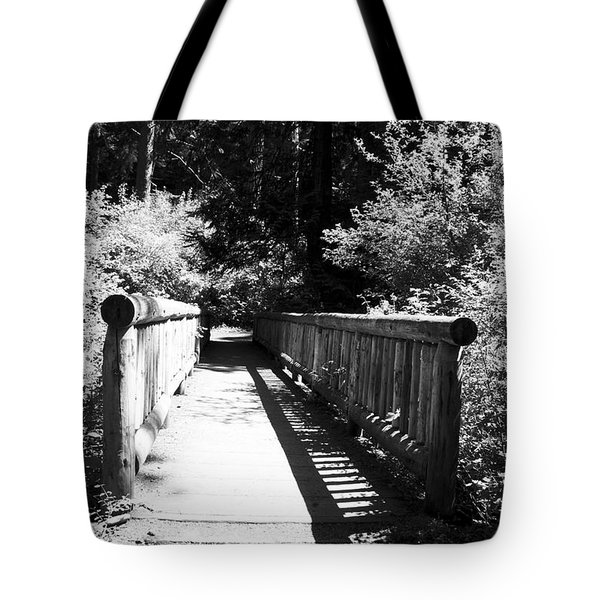 Tote Bag featuring the photograph Bridge In Woods by Yulia Kazansky