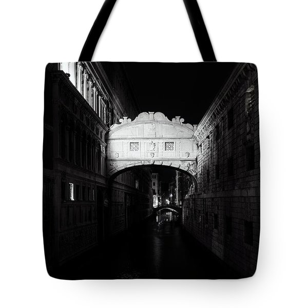 Tote Bag featuring the photograph Bridge Of Sighs At Night by Andrew Soundarajan
