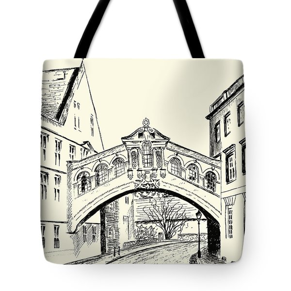Tote Bag featuring the drawing Bridge Of Sighs by Elizabeth Lock
