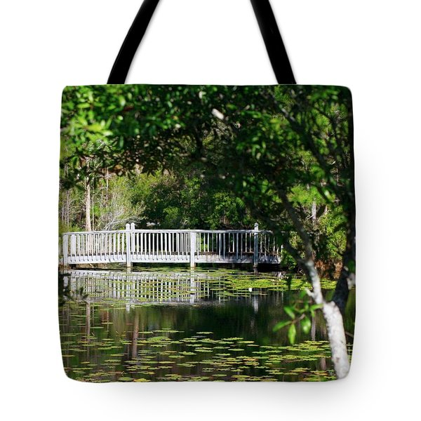 Tote Bag featuring the photograph Bridge On Lilly Pond by Lori Mellen-Pagliaro