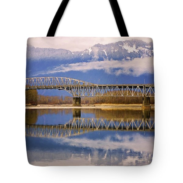 Tote Bag featuring the photograph Bridge Over Calm Waters by Jordan Blackstone