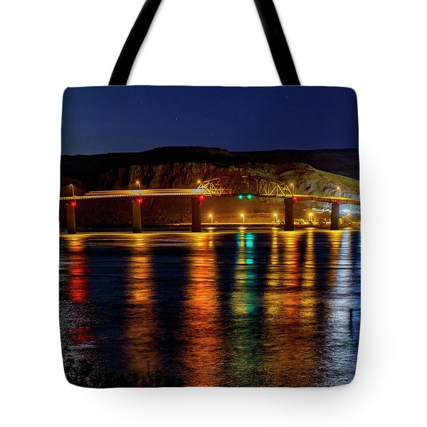 Tote Bag featuring the photograph Bridge Over Columbia Waters by Cat Connor