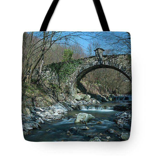 Tote Bag featuring the photograph Bridge Over Peaceful Waters - Il Ponte Sul Ciae' by Enrico Pelos
